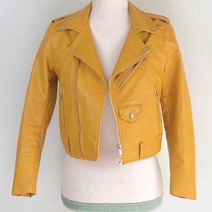 Zara Vegan Faux Leather Moto Biker Yellow Jacket